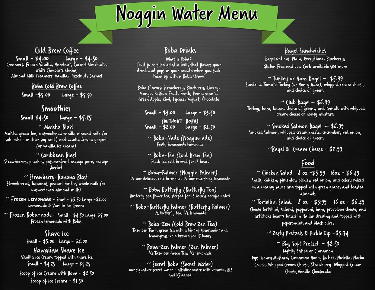Noggin Water Menu Cherokee, Iowa